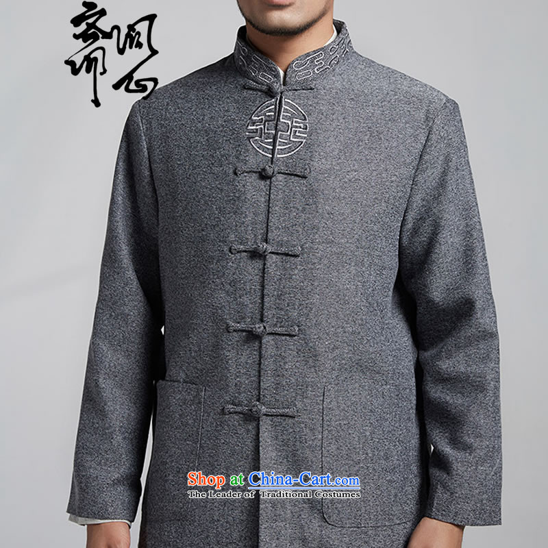 Q Shinsaibashi represented a load as soon as possible (Autumn male new products Chinese collar disc clip fall embroidery long-sleeved 1542 Light Gray聽XXL 180/100, q heart of Ramadan , , , shopping on the Internet