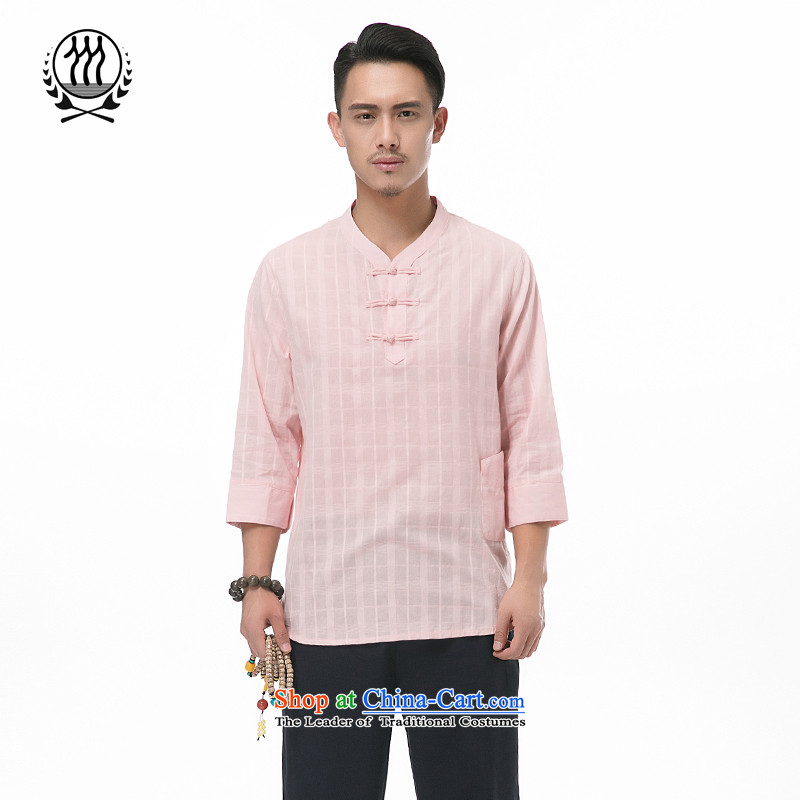 Summer genuine men 9 cuff cotton linen short-sleeved blouses Tang?V-neck disc tie kit and cotton linen men short-sleeved T-shirt ethnic men 9 cuff cotton linen Tang dynasty meat pink?XL/180