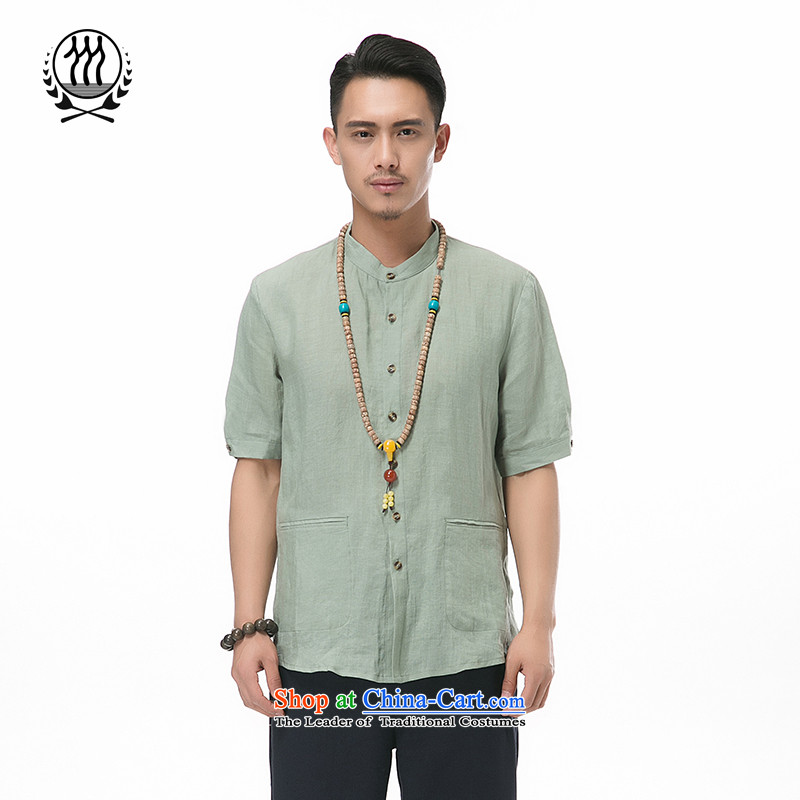 A new summer products men cotton linen short-sleeved shirt collar Chinese men coin cotton linen short-sleeved T-shirt China wind men 7 cuff short-sleeved Tang installed optional燲XXL_190 Army Green