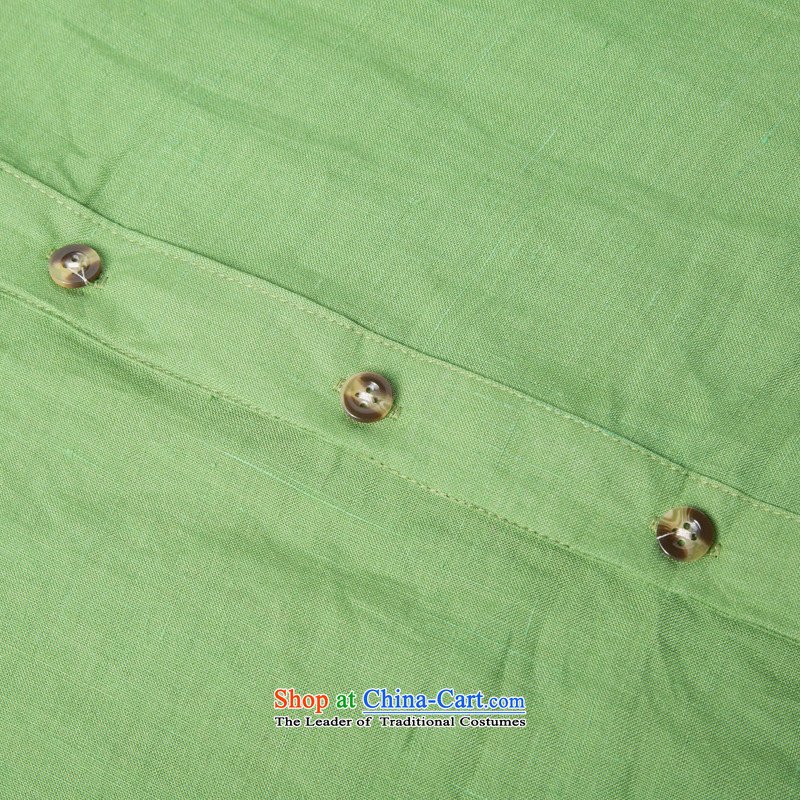 A new summer products men cotton linen short-sleeved shirt collar Chinese men coin cotton linen short-sleeved T-shirt China wind men 7 cuff short-sleeved Tang installed optional聽XXXL/190, Army Green Line (gesaxing Bosnia and thre) , , , shopping on the In