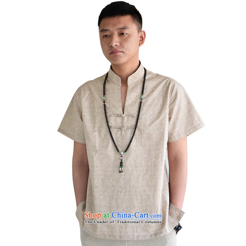Hill People Movement China wind retro-Chinese shirt clip relaxd clothes, short-sleeved T-shirt and light gray summer youth聽XXL