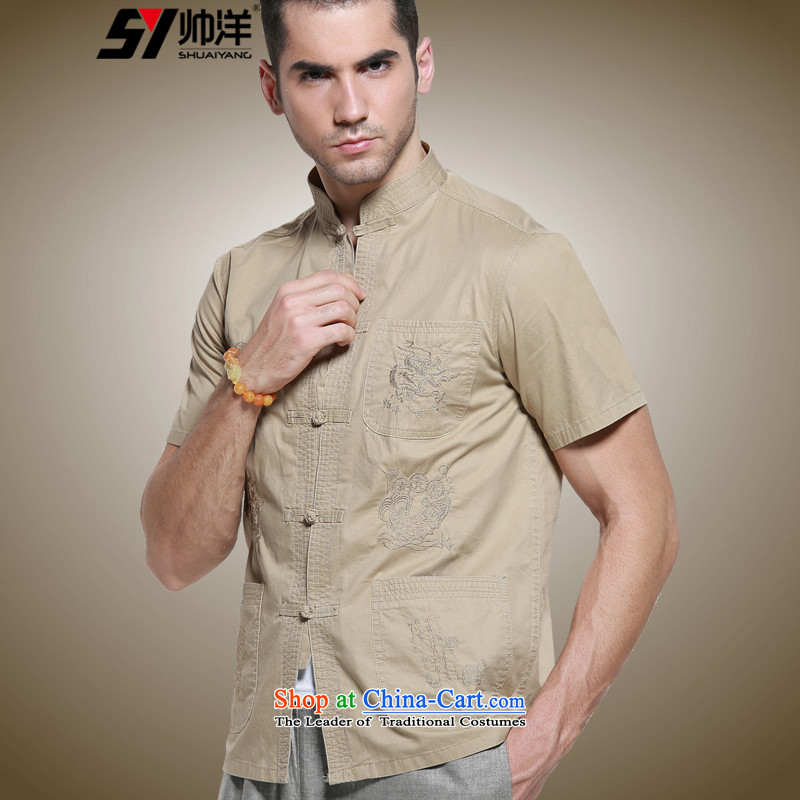 Shuai 2015 Cotton Ocean New Men Tang Dynasty Chinese short-sleeved shirt collar men's shirts, summer China wind up the clip khaki 42/185