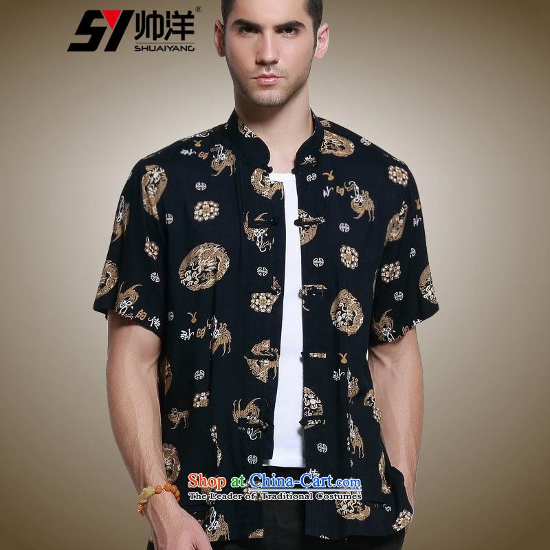 The new 2015 Yang Shuai men short-sleeved shirt Tang dynasty China wind male summer Mock-neck shirt, dark brown retro male Chinese?41/180 Pattern