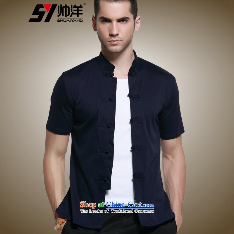 Shuai 2015 Cotton   foreign men short-sleeved T-shirt Tang dynasty China wind men's shirts, micro pop-Chinese clothing summer navy聽43/185, Shuai Yang (SHUAIYANG) , , , shopping on the Internet