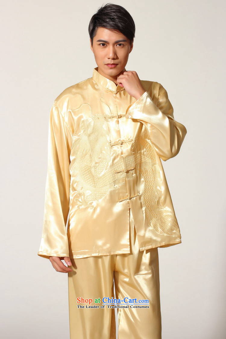 To Jing Ge older men summer Tang dynasty collar silk embroidery Tang Dynasty Chinese Dragon Men long-sleeved kit for larger men's kung fu kit M0010 White XXL recommendations 180-210 catty picture, prices, brand platters! The elections are supplied in the national character of distribution, so action, buy now enjoy more preferential! As soon as possible.