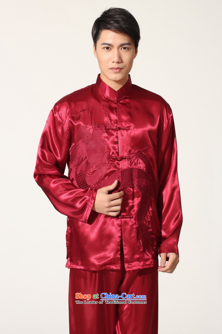 To Jing Ge older men's Tang Dynasty Chinese silk embroidered improved collar Chinese dragon tai chi services for larger men's kung fu kit聽M0013 wine red聽M recommendations 100-120 catty picture, prices, brand platters! The elections are supplied in the national character of distribution, so action, buy now enjoy more preferential! As soon as possible.