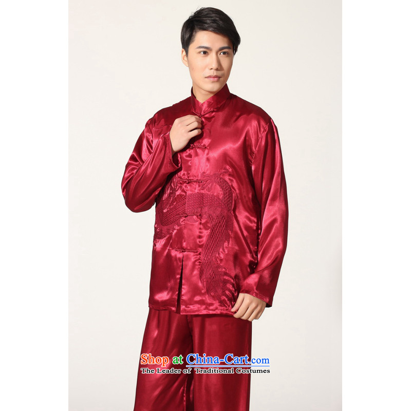 To Jing Ge older men's Tang Dynasty Chinese silk embroidered improved collar Chinese dragon tai chi services for larger men's kung fu kit M0013 wine red M recommendations 100-120 catty