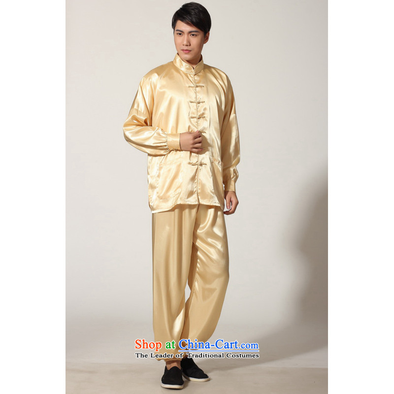 To Jing Ge older men summer Tang dynasty collar silk men long-sleeved kit for larger men's kung fu kit?-D GOLD?XL recommendations weighs 160-170 catty