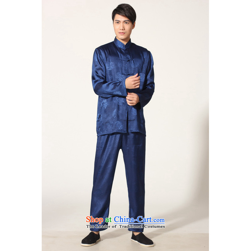 To Jing Ge older men summer Tang dynasty collar silk men long-sleeved kit for larger men's kung fu kit -B on cyan XXL