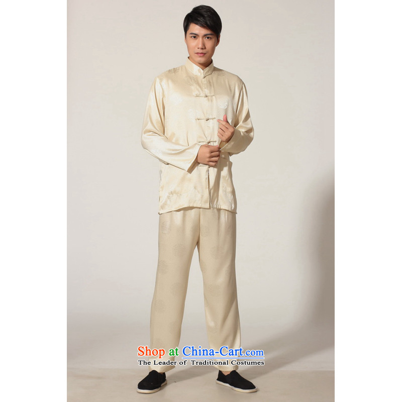 To Jing Ge older men spring and summer Tang dynasty loaded collar silk long-sleeved Tang Dynasty Package men kung fu tai chi?M0049 service kit -D GOLD?XL recommendations weighs 160-170 catty