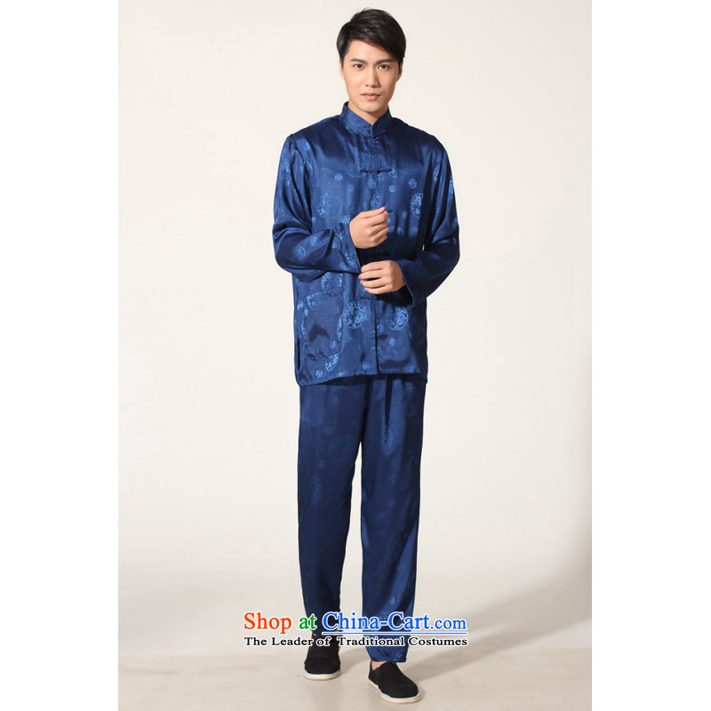 To Jing Ge older men summer Tang dynasty collar silk men long-sleeved kit for larger men's kung fu kit聽-B on cyan聽M