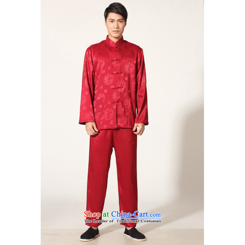 To Jing Ge older men summer Tang dynasty collar silk men long-sleeved kit for larger men's kung fu kit�-C, wine red�XL recommendations 160-175 catty