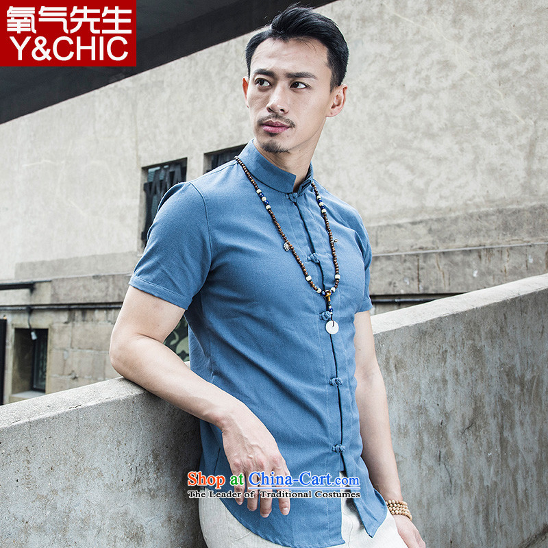 Flax shirt male Short-Sleeve Mock-Neck Summer China wind men national disc detained cotton linen clothes pure color original design of Sau San Tong YQ8TKKY008 BLUE 3XL replacing