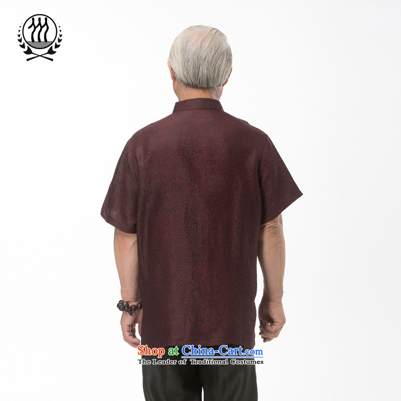 Bosnia and thre line short-sleeved Tang dynasty summer new men incense cloud male silk yarn Tang dynasty in his shirt-sleeves blouse of older men Tang dynasty incense cloud yarn brown聽L/175, thre line (gesaxing and Tobago) , , , shopping on the Internet