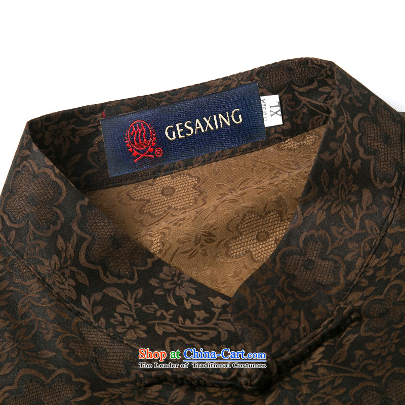Bosnia and thre line short-sleeved Tang dynasty summer new men incense cloud male silk yarn Tang dynasty in his shirt-sleeves blouse of older men Tang dynasty incense cloud yarn brown L/175, thre line (gesaxing and Tobago) , , , shopping on the Internet
