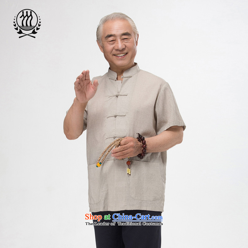 Bosnia and 15 new thre summer Chinese men and the elderly in the summer kit and Tang dynasty short-sleeved national dress boutique multi-color light gray?XL/180 Optional
