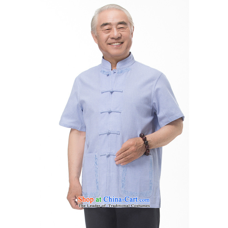 Bosnia and 15 new thre summer Chinese men in Tang Dynasty older summer clasp Tang dynasty short-sleeved national costumes boutique white light gray light blue L/175 Optional