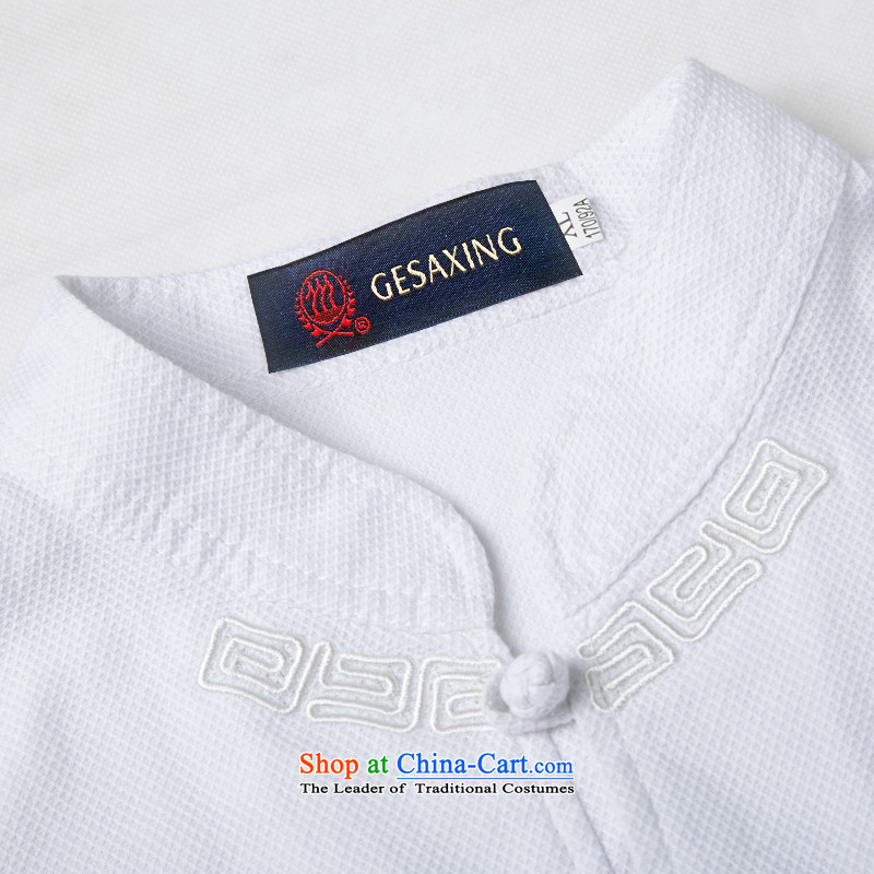 Bosnia and 15 new thre summer Chinese men in Tang Dynasty older summer clasp Tang dynasty short-sleeved national costumes boutique white light gray optional light blue聽L/175, thre line (gesaxing and Tobago) , , , shopping on the Internet
