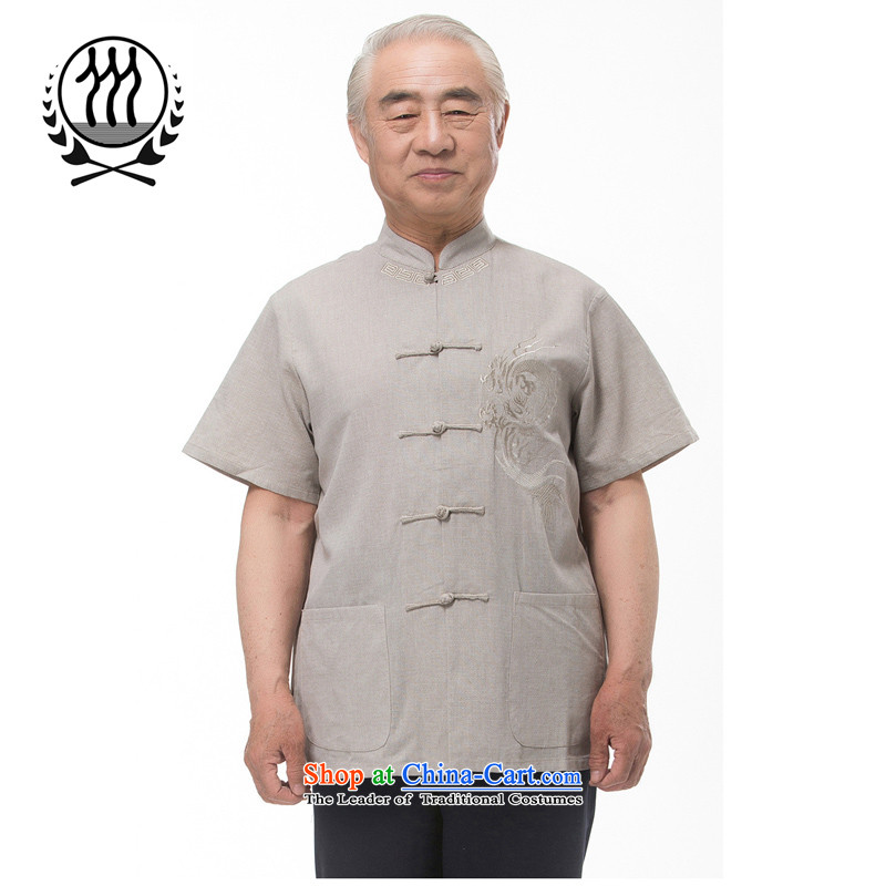 Explosions of Bosnia and 15 new thre summer Chinese men in older summer linen Tang dynasty short-sleeved national dress boutique beige Light Gray Optional聽1 color聽XXL_185