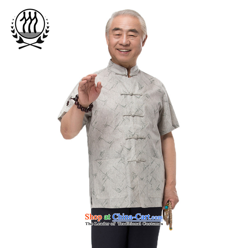 Bosnia and 15 new thre summer Chinese men in Tang Dynasty older summer clasp Tang dynasty short-sleeved national dress boutique multi-color light gray?XXL/185 Optional