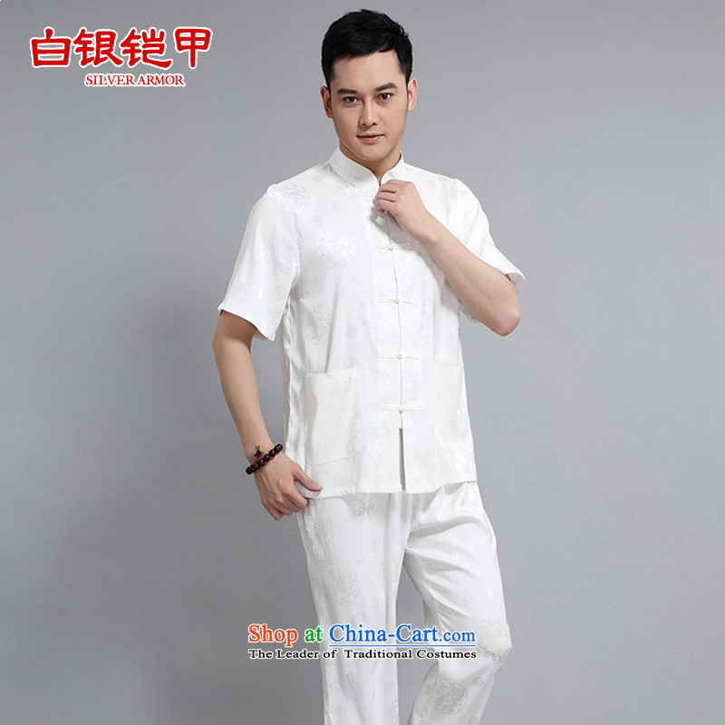 Silver armor Tang Dynasty Short-Sleeve Men spring and summer load of older persons in the Tang dynasty linen short-sleeved men Tang dynasty short-sleeve kit national costumes and white/175