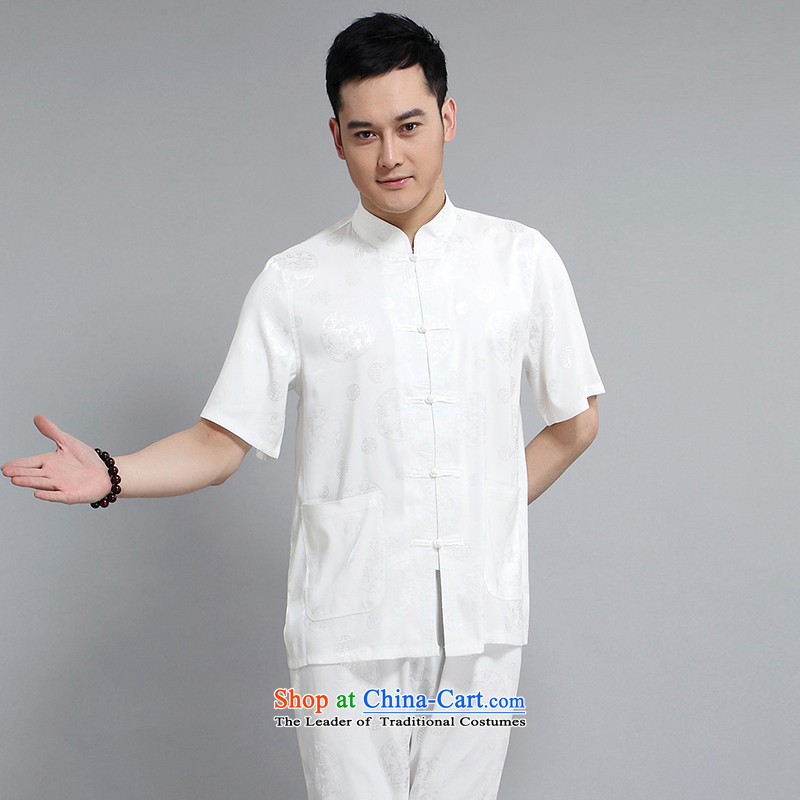 Silver armor Tang Dynasty Short-Sleeve Men spring and summer load of older persons in the Tang dynasty linen short-sleeved men Tang dynasty short-sleeve kit national costumes and white/175 silver Armor , , , shopping on the Internet