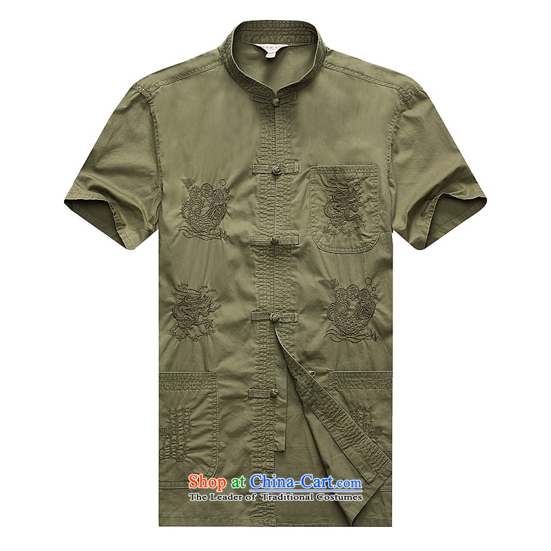 Sato Chu?2015 men's short-sleeved shirt Tang dynasty in elderly men casual shirt China wind load father replacing pickles Taegeuk?185/56/XXXL color