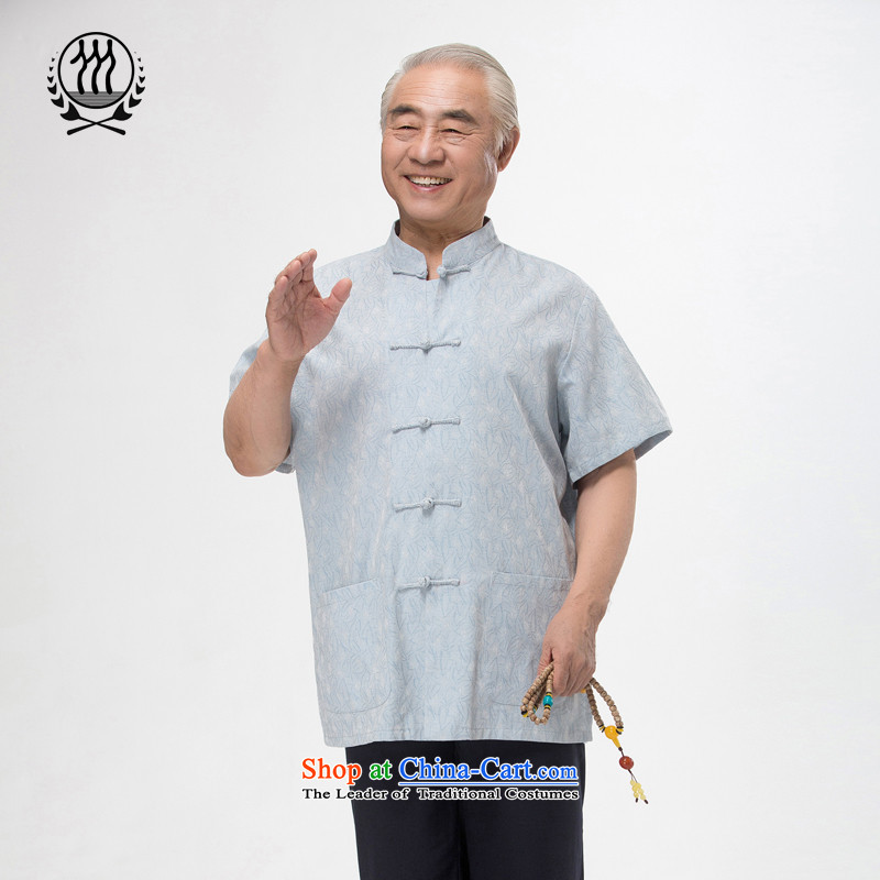 Bosnia and 15 new thre summer Chinese men in Tang Dynasty older men and Tang Dynasty Package national costumes boutique blue light gray beige Optional聽3 color聽L_175