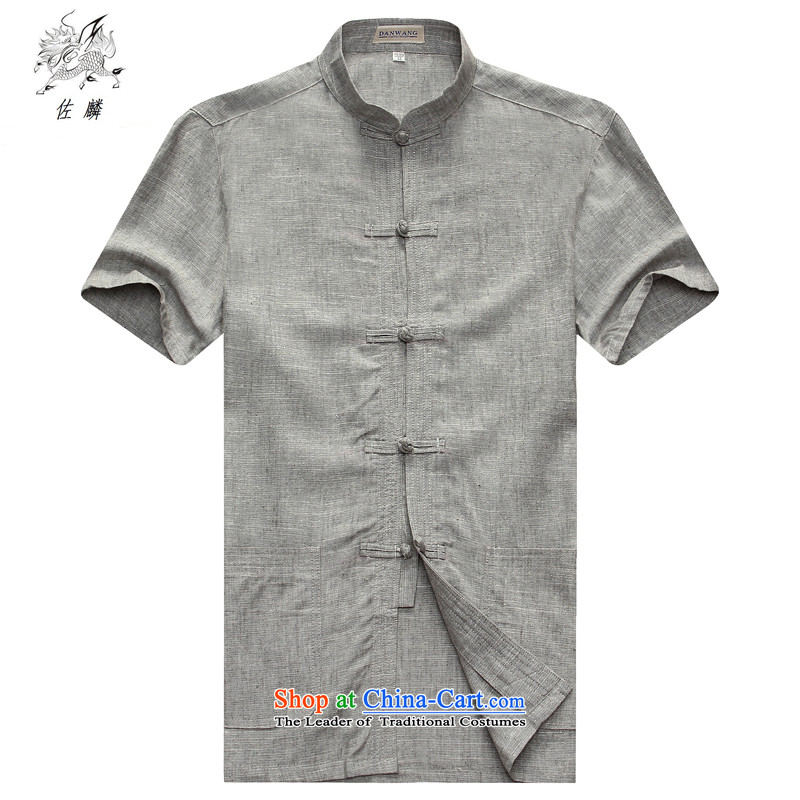 Sato Chu聽2015 men's short-sleeved shirt Tang dynasty in older men China wind Taegeuk services father casual white T-shirt聽180_54_XXL