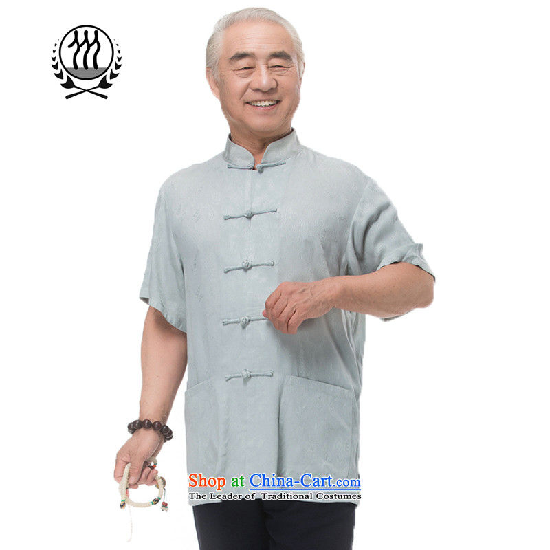Bosnia and 15 new thre summer Chinese men in Tang Dynasty older summer clasp Tang dynasty short-sleeved brown national costumes light gray beige燤_170 Optional