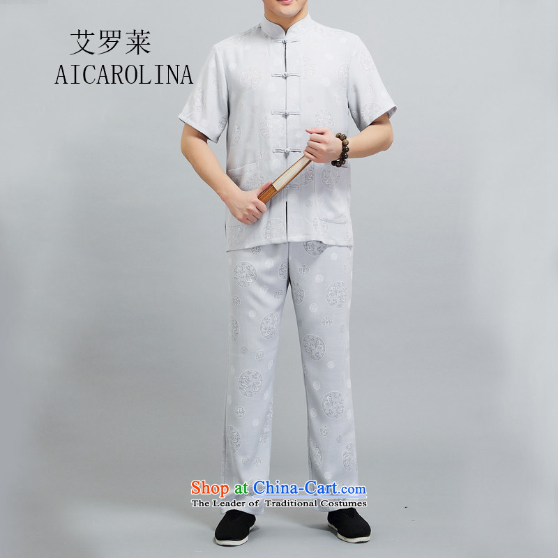 Hiv Rollet 2015 Summer Chinese middle-aged men's Michael Mak Kit Tang Casual dress?XXXL/185 Light Gray