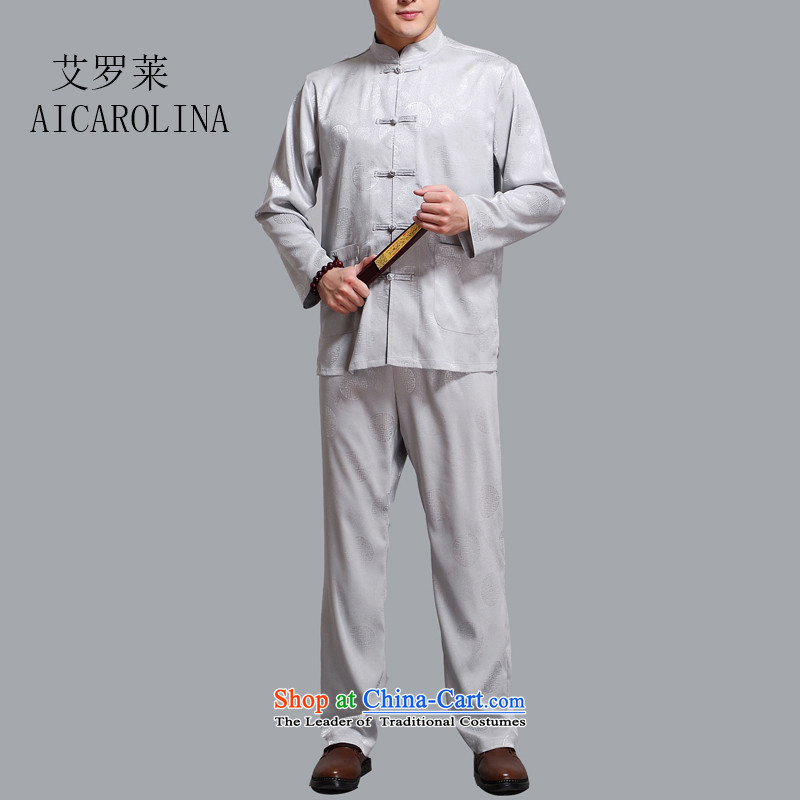 Hiv Rollet men in the summer of older men Tang dynasty long-sleeved clothing middle-aged kit Hon-father of older persons with light gray聽L_170 Tang