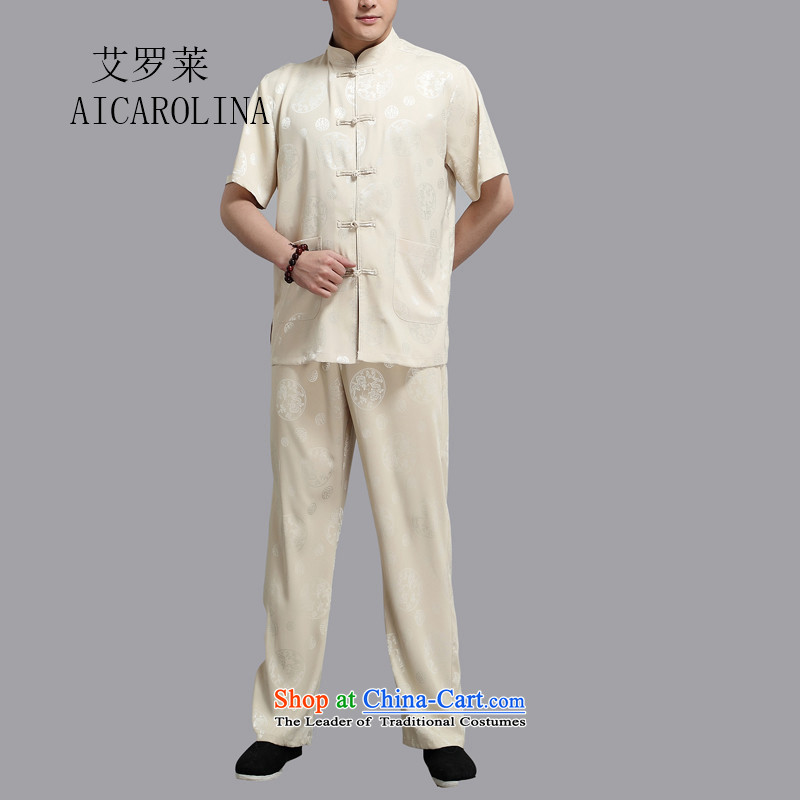 Hiv Rollet 2015 Summer New Tang Dynasty Han-middle-aged men Michael Mak short-sleeve kit gold?XL/175 national costumes