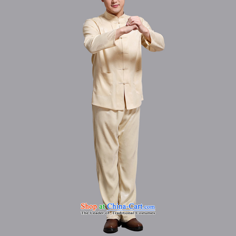 Hiv Rollet of older persons in the Tang Dynasty Men long-sleeved shirt Chinese China wind middle-aged man Kit Gold聽XXL/180, spring (AICAROLINA HIV ROLLET) , , , shopping on the Internet