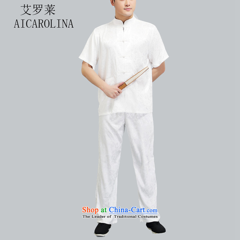 Hiv Rollet men in Tang Dynasty older men and short-sleeved middle-aged father of older persons Tang Dynasty Package half sleeve male white聽XXL_180 China Wind