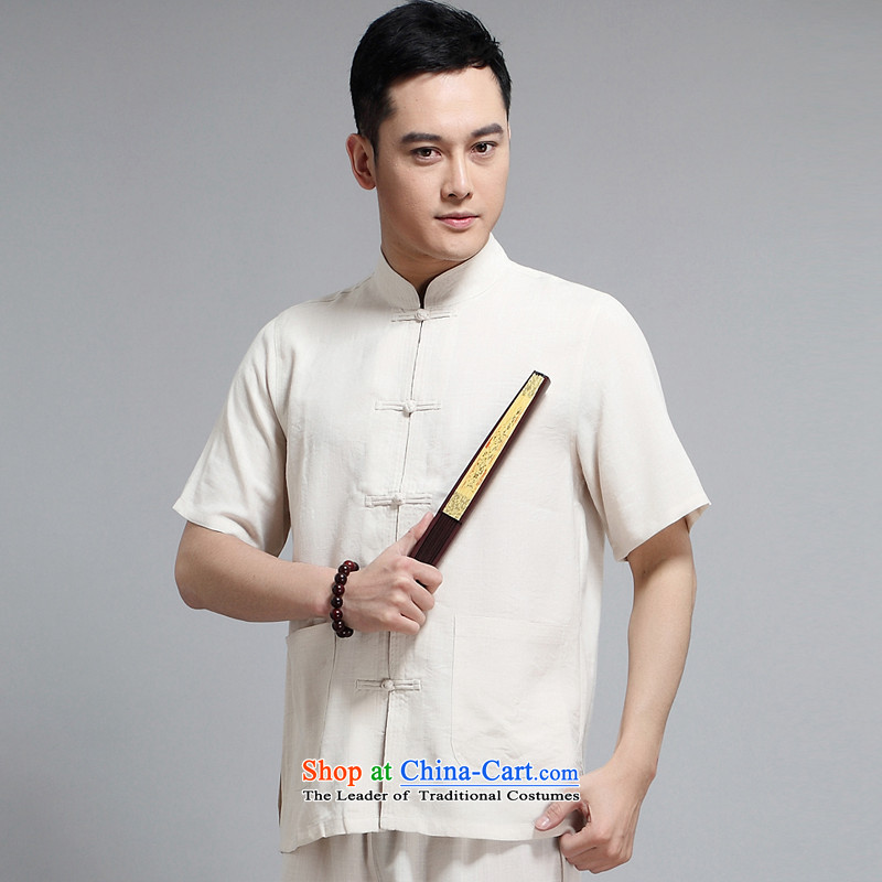 Tang dynasty male short-sleeve kit AMOI, older men sauna silk men Tang dynasty jogs services practice suits Taegeuk service pack?1509 kit father yellow?190