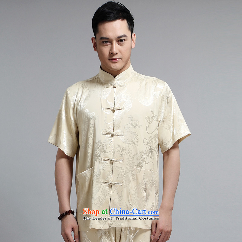Tang dynasty male short-sleeve kit AMOI, older men cotton linen men Tang dynasty jogs services practice suits Taegeuk service pack?1505 Wong Kit Dad installed?180