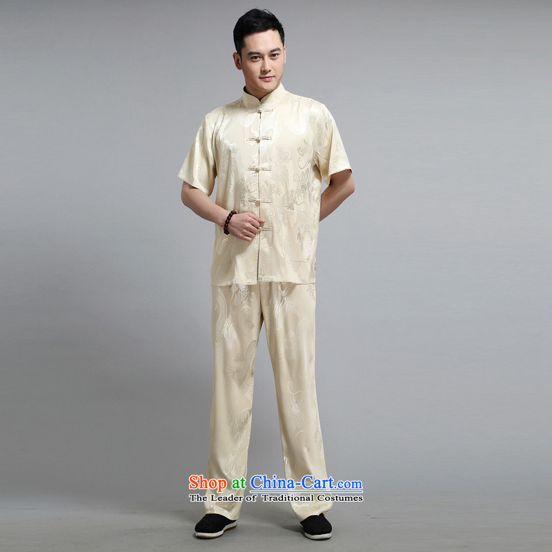 Tang dynasty male short-sleeve kit AMOI, older men cotton linen men Tang dynasty jogs services practice suits Taegeuk service pack 1505 Huang DAD package 180,JACK EVIS,,, shopping on the Internet