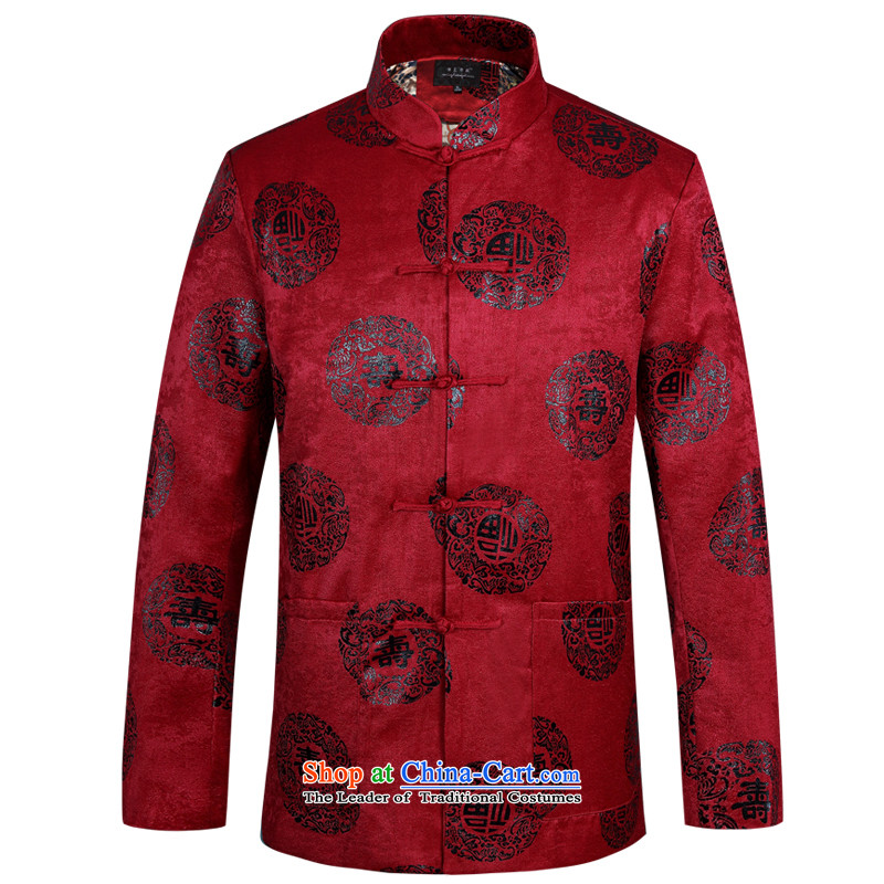 Tang dynasty male long-sleeved cuff winter plus cotton waffle new middle-aged men men Tang dynasty jogs services practice suits Taegeuk service pack installed father birthday feast birthday with fu shou red (winter) Cotton) 170
