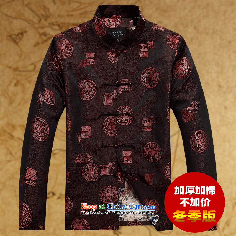 The elderly men loaded autumn clothes older persons Tang Jacket coat disk port in Chinese Tang dynasty older men long-sleeved red _fu shou cotton waffle_ 170