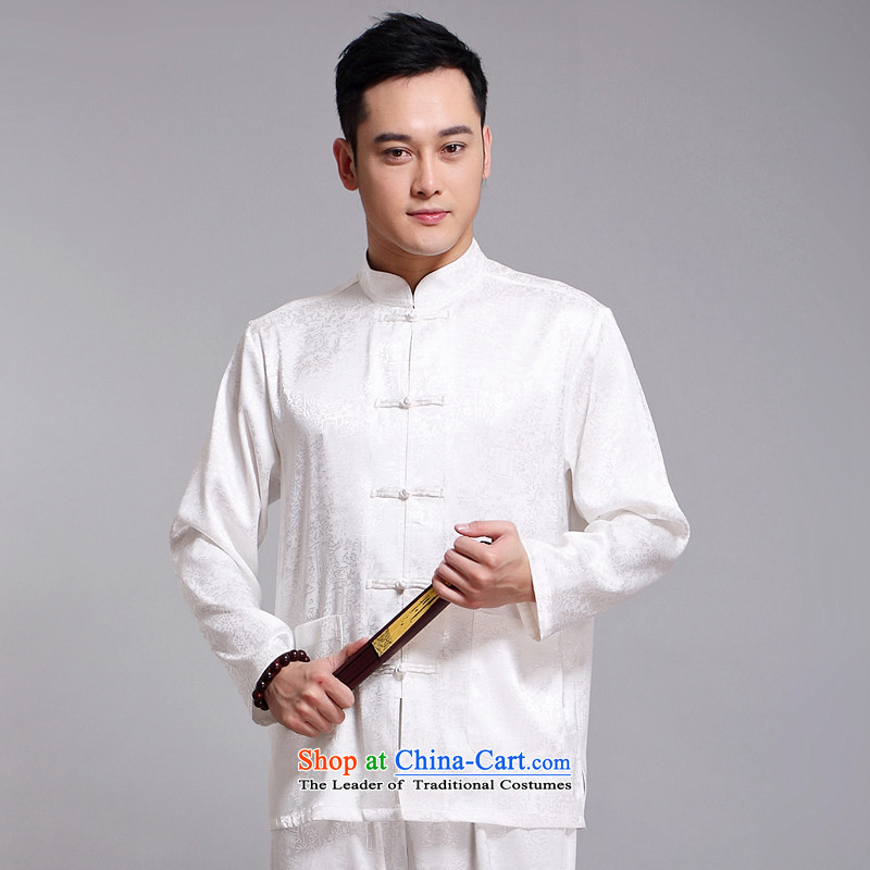 Tang Dynasty Package and the spring and summer new long-sleeved Tang replacing men in older jogging services practice suits tai chi services men long-sleeved Tang dynasty聽1519 White聽185,JACK EVIS,,, shopping on the Internet