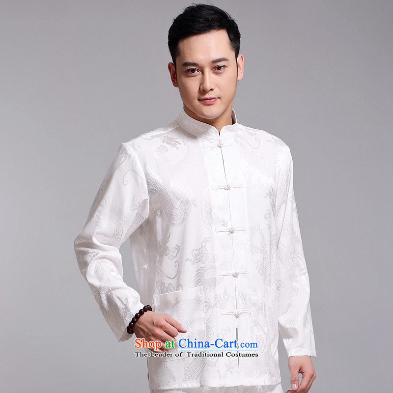 Tang Dynasty Man Chun Kit plain manual coin retro jacket men wedding banquet birthday attired in elderly Men's Mock-Neck Chinese national dress jacket�1519 White�180