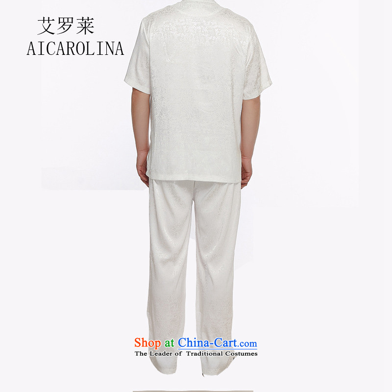 Hiv Rollet Chinese men kit summer New China wind men middle-aged men Tang dynasty short-sleeved shirt , white trousers HIV ROLLET (AICAROLINA) , , , shopping on the Internet