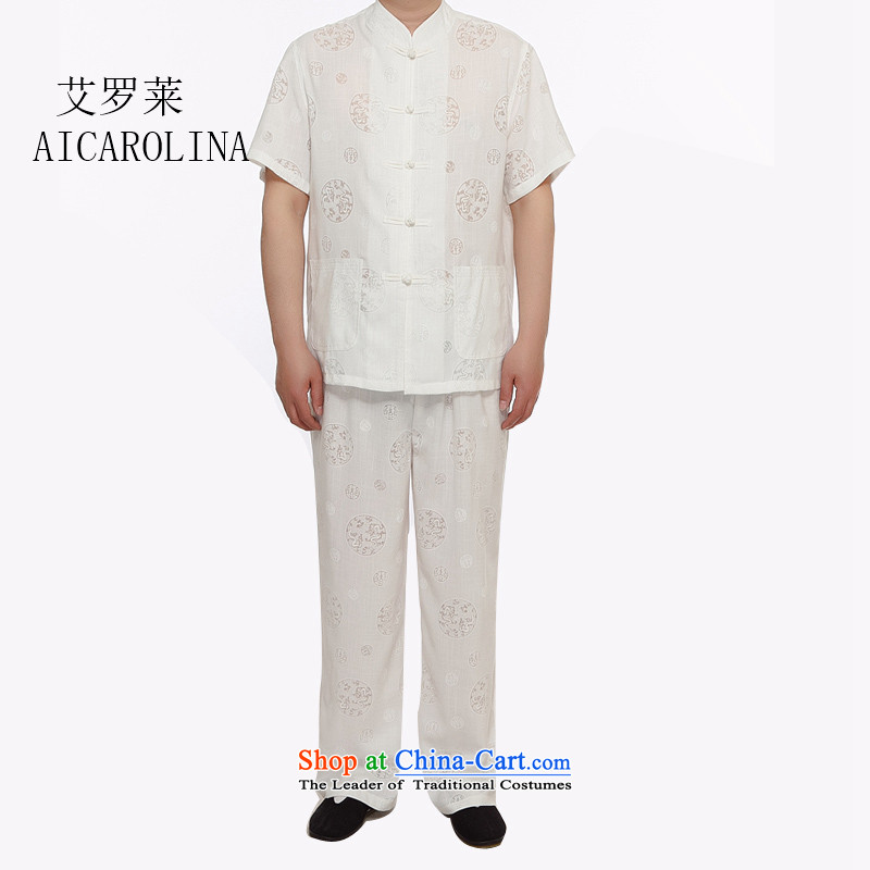 Hiv Rollet Summer Tang Dynasty Men's Shirt short-sleeved linen new Chinese shirt China wind up charge-back collar Tang Dynasty Package white燣