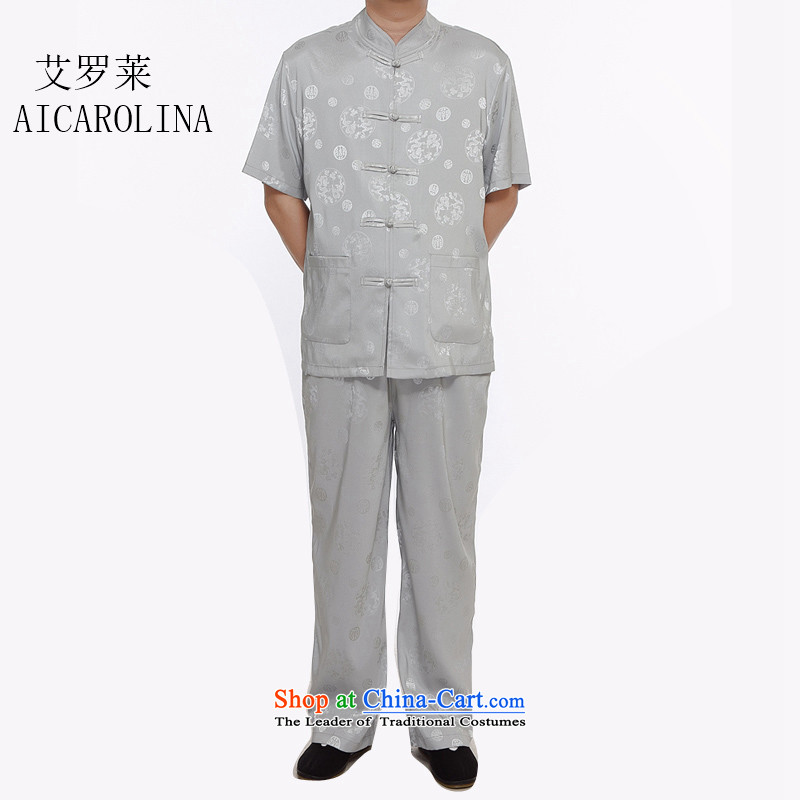 Airault letang replacing men summer short-sleeved in Tang Dynasty older Short-Sleeve Men Kit Silver Loaded father�S middle-aged