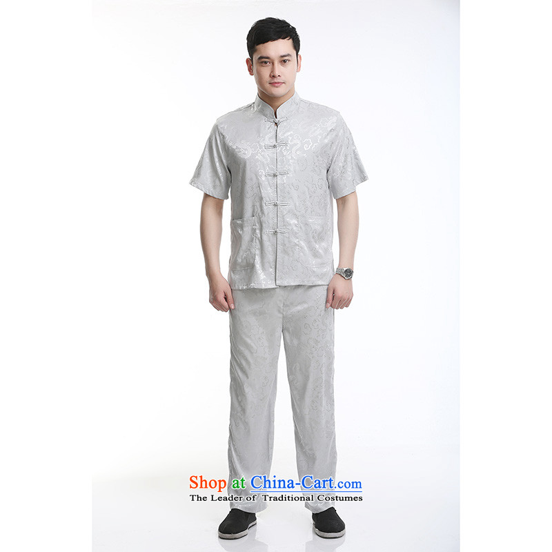 Hundreds of brigade bailv summer stylish thin plate fasteners casual collar short-sleeved comfortable elasticated trousers men's kit light gray聽185
