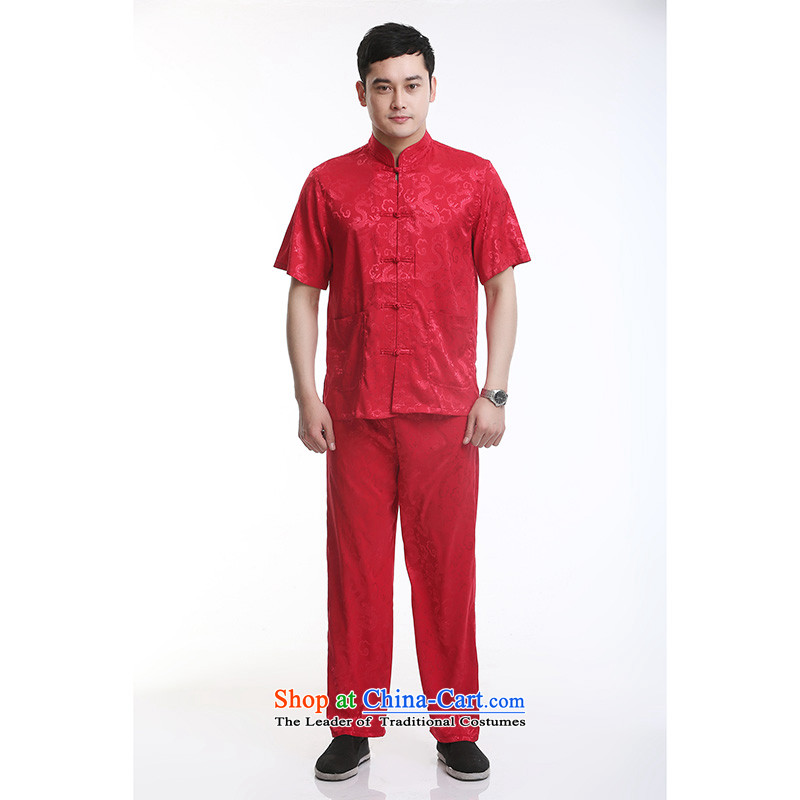 Hundreds of brigade bailv summer stylish thin plate fasteners casual collar short-sleeved comfortable elasticated trousers men's kit Red?185