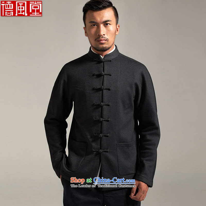 Fudo classy Superior de men Tang dynasty 2015 autumn and winter long-sleeved sweater pure Chinese anti-wrinkle shoulder even older men's China wind聽XXL_180 Emerald