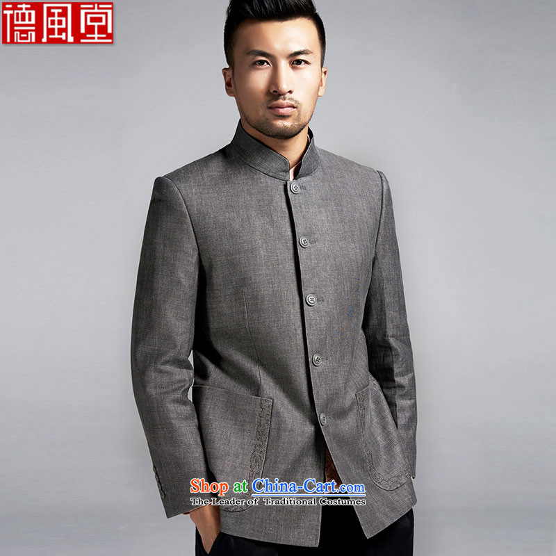 Fudo East sanguine de original Chinese Chinese tunic shirt collar and Tang dynasty was under renovation as of men's jackets China wind Dark Gray�L