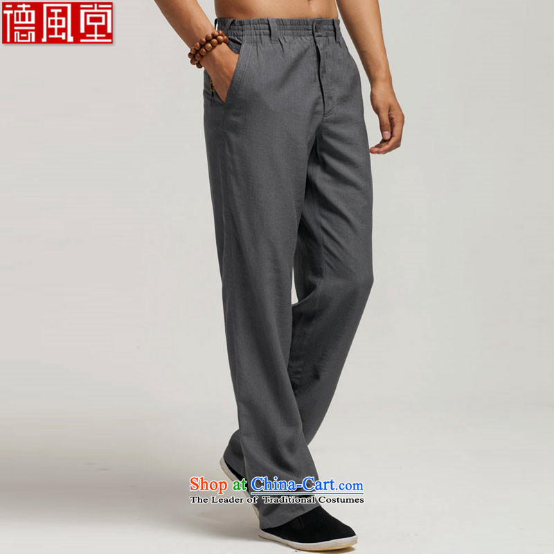 Fudo TO Kwan-hang,?summer 2015 men's trousers, Tang Dynasty Ma Tei elastic waist trousers Chinese embroidery original China wind men black?L